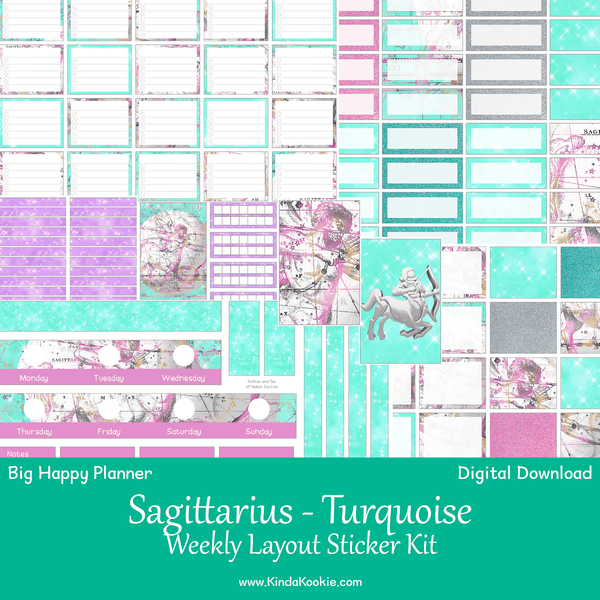 Sagittarius Turquoise Astrology Zodiac Big Happy Planner Weekly Layout Printable Sticker Kit
