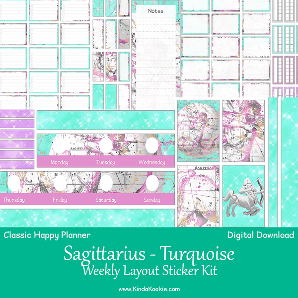 Sagittarius Turquoise Astrology Zodiac Classic Happy Planner Weekly Layout Printable Sticker Kit