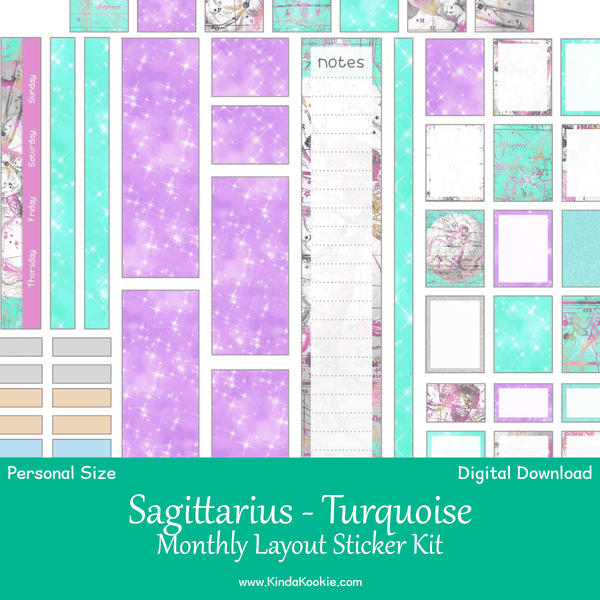 Sagittarius Turquoise Astrology Personal Planner Monthly Printable Sticker Kit