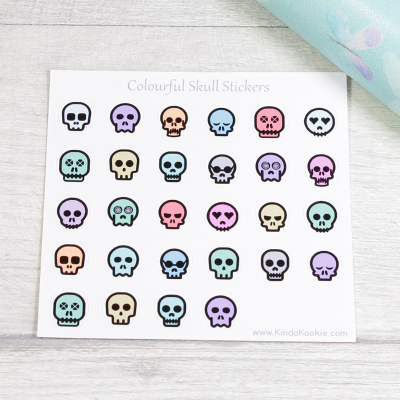 Small Skull Bullet List Pagan Planner Stickers for Journals and Diaries by KindaKookie