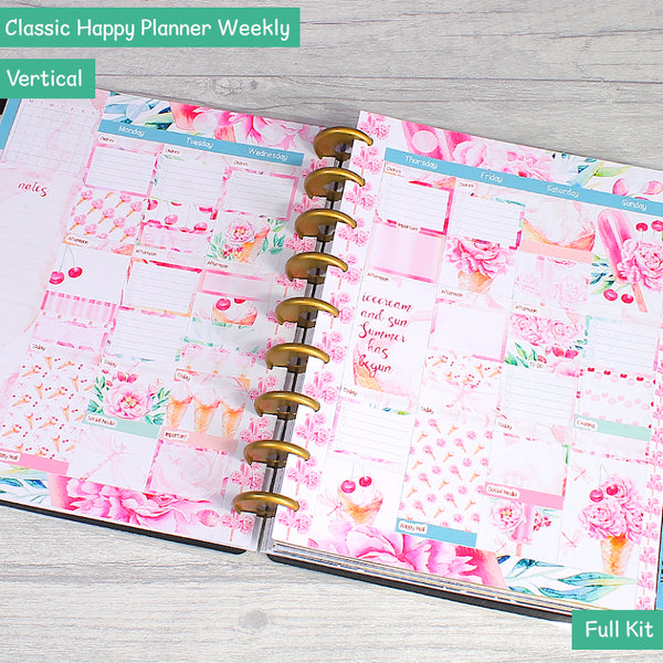 Sweet Summer Ice Cream Florals Classic Happy Planner Weekly Layout Stickers by KindaKookie