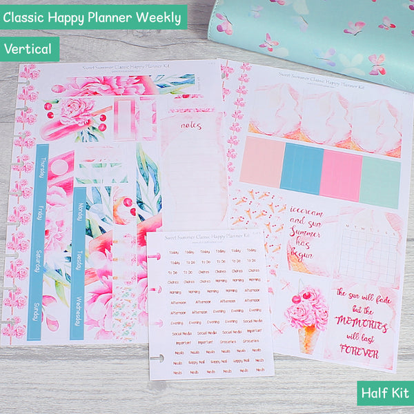 Sweet Summer Floral Ice Creams Classic Happy Planner Weekly Sticker Layout Half Kit by KindaKookie