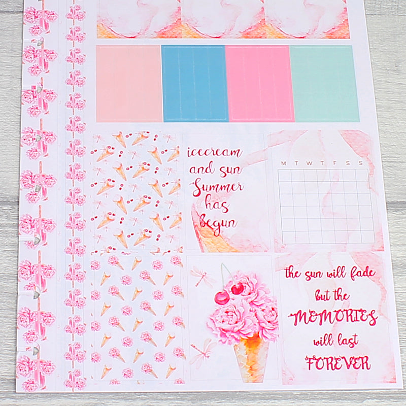 Sweet Summer Floral Ice Creams Header and Full Boxes Sticker Sheet For Classic Happy Planner by KindaKookie