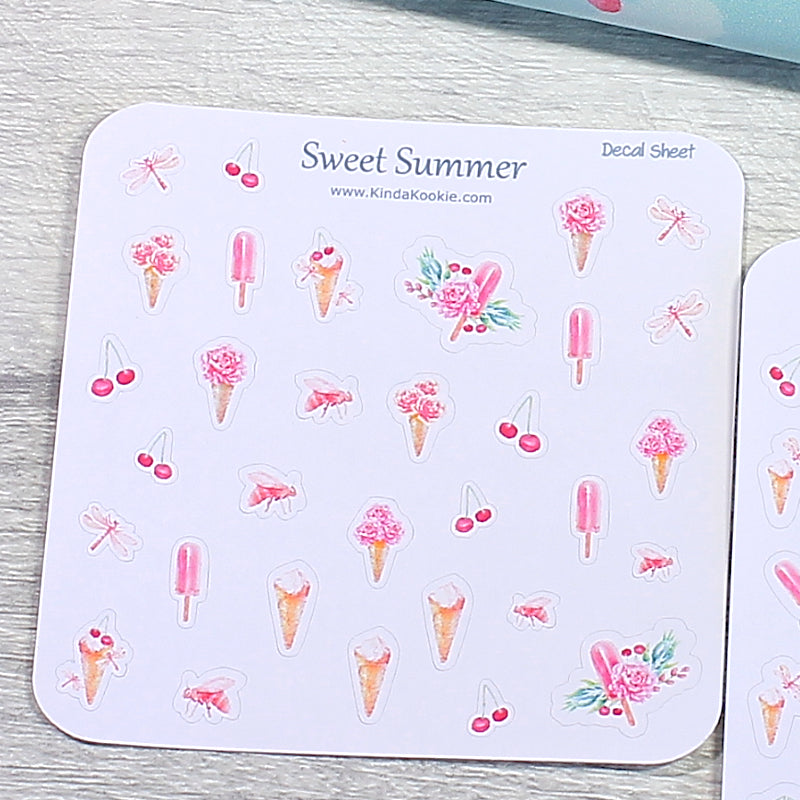 Sweet Summer, Floral Ice Creams Decal Sheets For Our Matching Notepaper and Planner Kits by KindaKookie