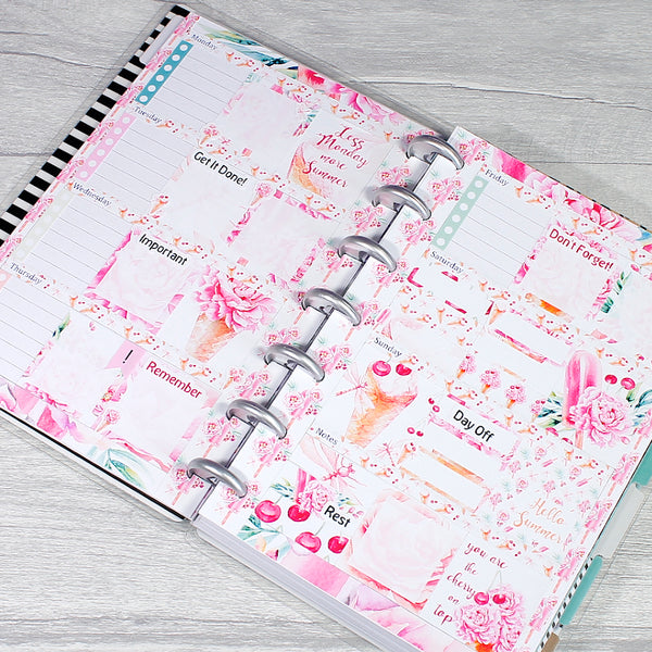 Sweet Summer Ice Cream Florals Mini Happy Planner Weekly Layout Spread Stickers by KindaKookie