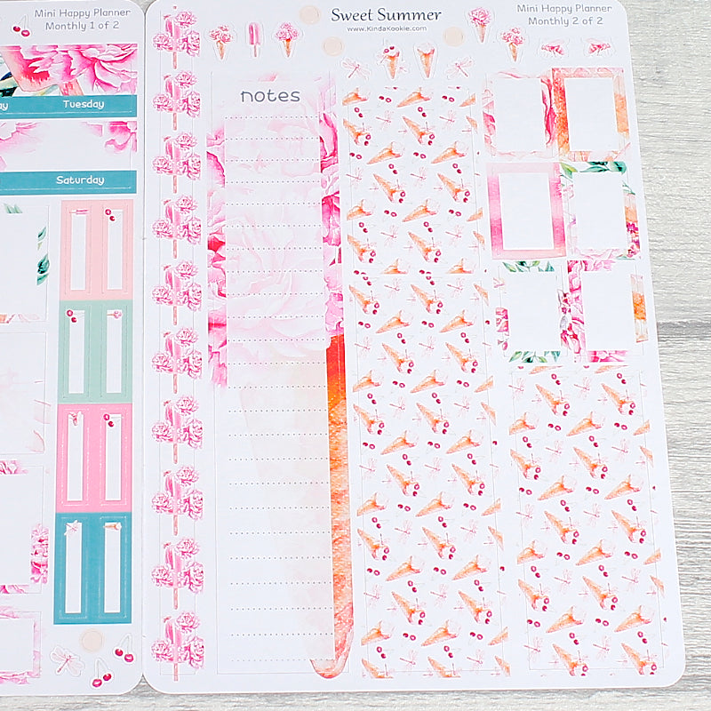 Sweet Summer Floral Ice Cream Mini Happy Planner Monthly Stickers by KindaKookie