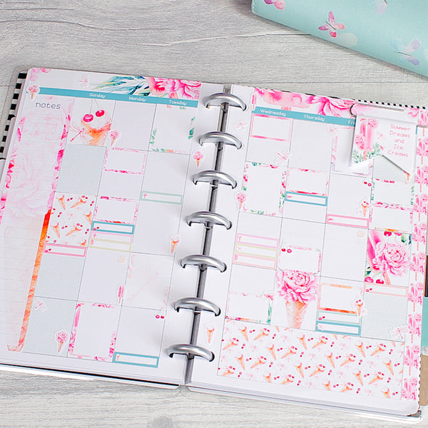 Sweet Summer Mini Happy Planner Monthly Layout Stickers by KindaKookie
