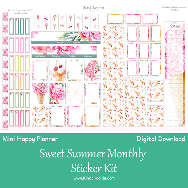 Sweet Summer Mini Happy Planner Monthly Layout Stickers Printable by KindaKookie