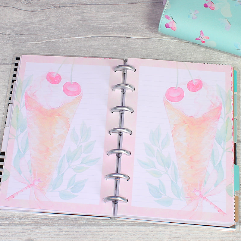 Sweet Summer Mini Happy Planner Note Paper Inserts with Sticker Sheets