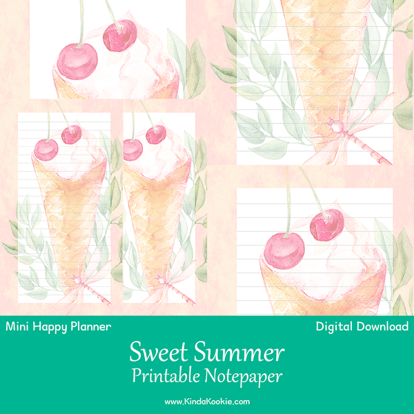 Sweet Summer Notepaper Mini Happy Planner Printable Inserts