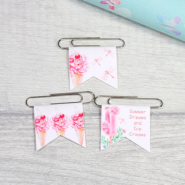 Sweet Summer Floral Ice Creams Paper Clips Planner Decoration Clips by KindaKookie