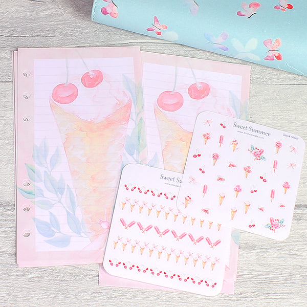 Sweet Summer Lined NotePaper for Personal 6 Ring Planners with Decal Stickers by KindaKookie