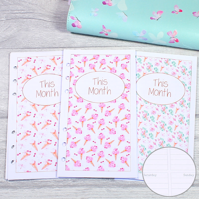 Sweet Summer Personal Size Planner Lined Week on Two Pages Monthly Weekly Inserts by KindaKookie