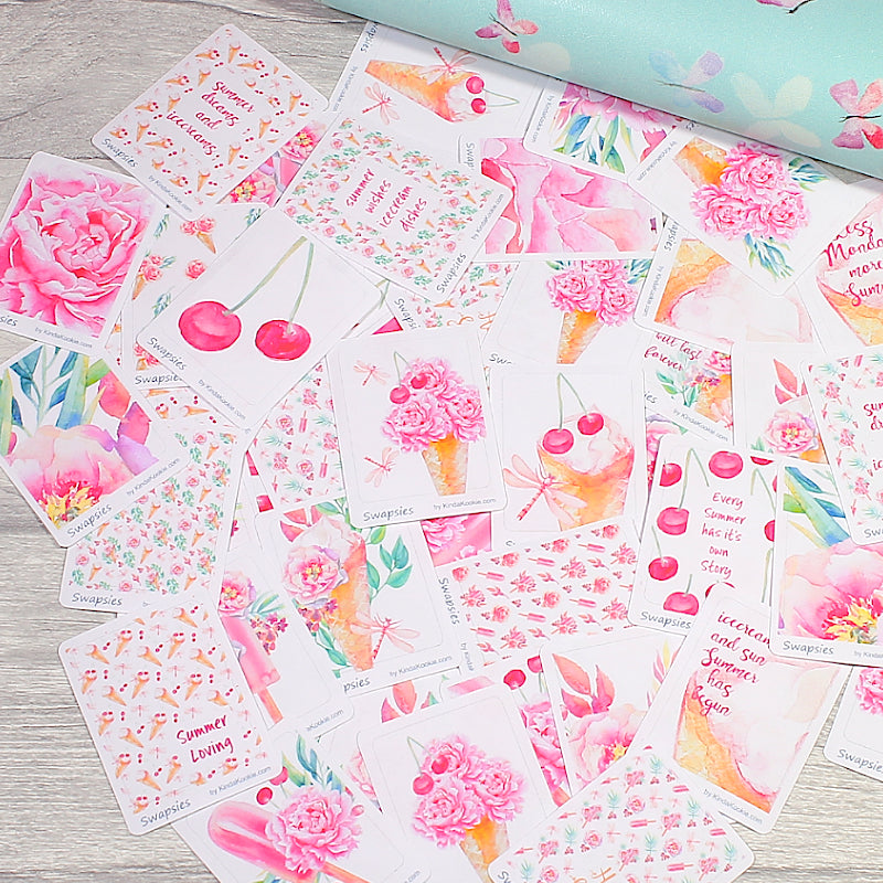 Sweet Summer Planner Stickers Swapsies for Decorating, Happy Mail and Penpal Swaps by KindaKookie