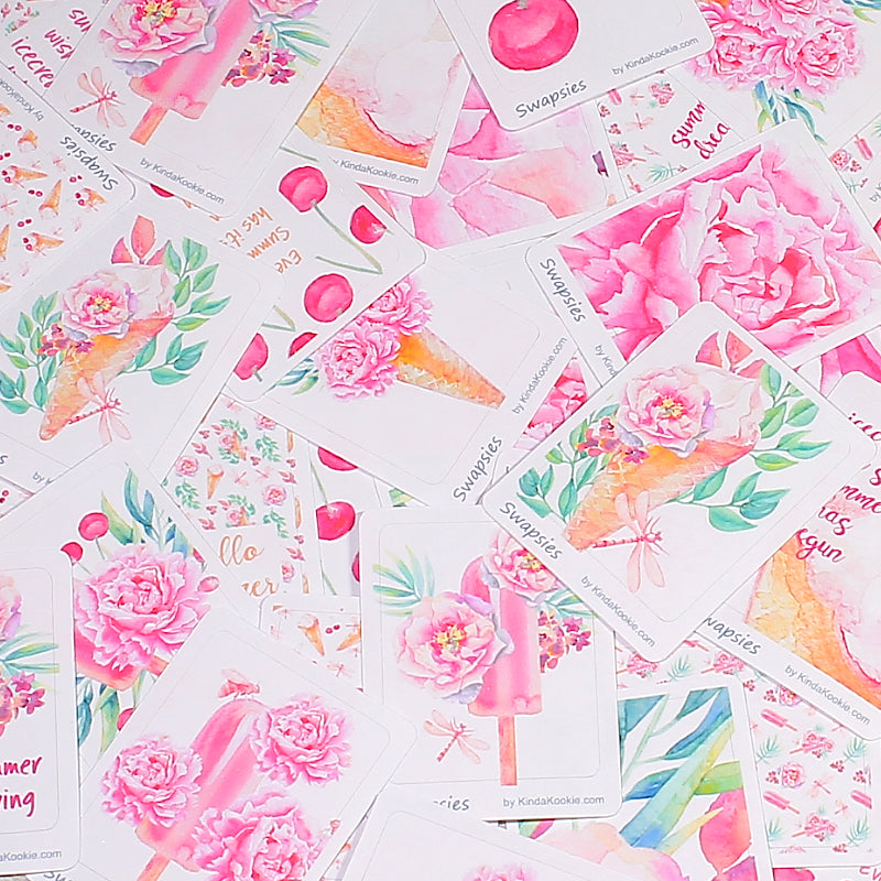 Sweet Summer Swapsies Stickers for Decorating Planners, Journals, Notebooks and Diaries by KindaKookie