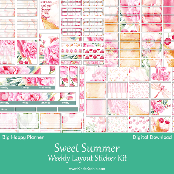 graphic relating to Have a Sweet Summer Printable identified as Lovable Summer season Substantial Pleased Planner Weekly Structure Printable Sticker Package