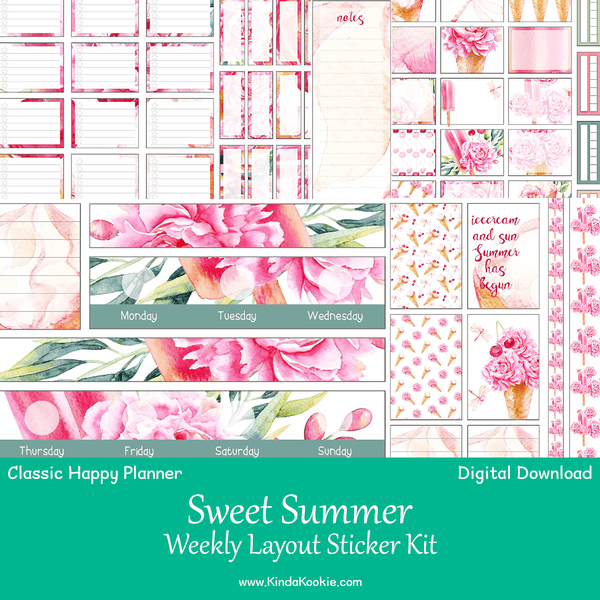 photograph relating to Have a Sweet Summer Printable titled Cute Summer months Clic Delighted Planner Weekly Style and design Printable Sticker Package