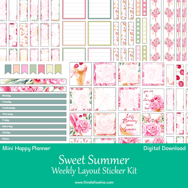Sweet Summer Mini Happy Planner Weekly Layout Printable Sticker Kit