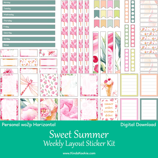 graphic regarding Planner Printable Stickers identify Adorable Summer time Individual Planner WO2P Horizontal Weekly Printable Sticker Package
