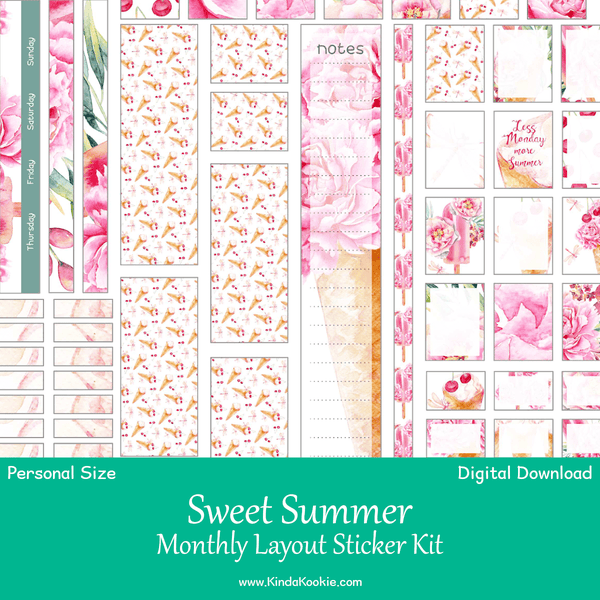 picture relating to Have a Sweet Summer Printable identified as Lovable Summertime Particular person Planner Regular monthly Printable Sticker Package
