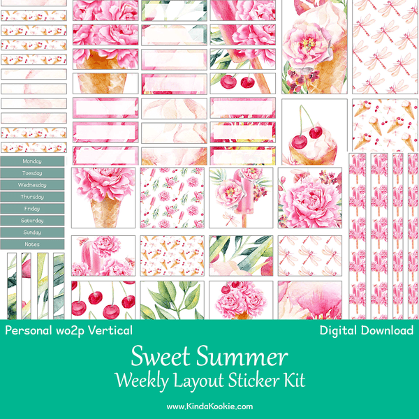 Sweet Summer Personal Planner WO2P Vertical Weekly Printable Sticker Kit