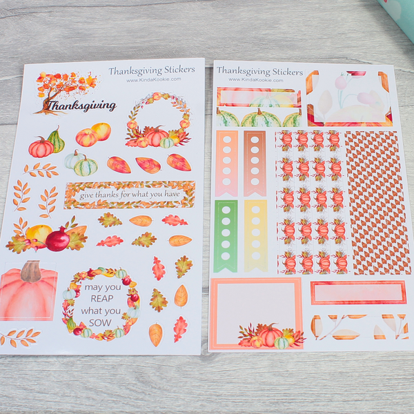 Thanksgiving Stationery Notebook Journal Planner Stickers by KindaKooKie