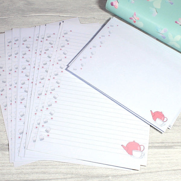 Time For tea Penpal Or Office Stationery A5 Lined Double Sided Paper by KindaKookie