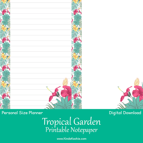 Tropical Garden Double Sided Notepaper Personal Planner Printable Inserts