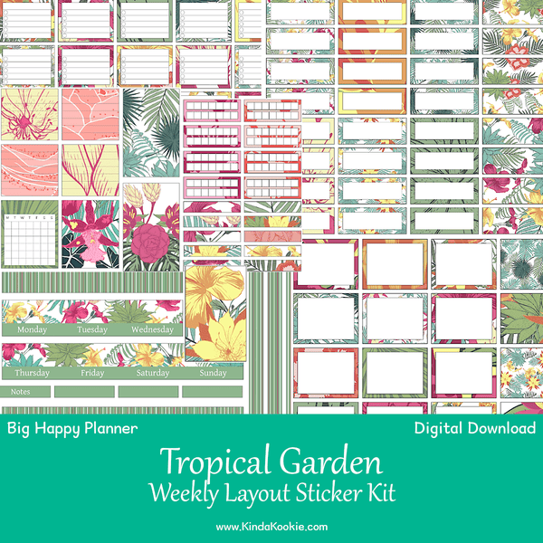 Tropical Garden Big Happy Planner Weekly Layout Printable Sticker Kit