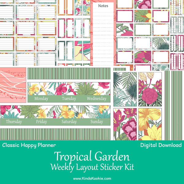 Tropical Garden Classic Happy Planner Weekly Layout Printable Sticker Kit