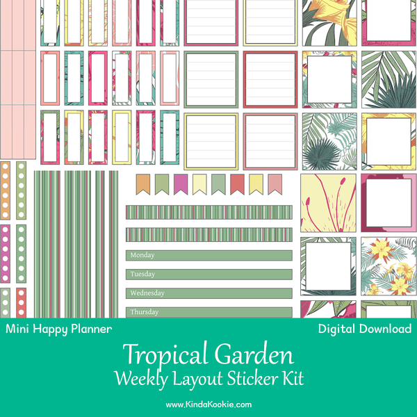 Tropical Garden Mini Happy Planner Weekly Layout Printable Sticker Kit