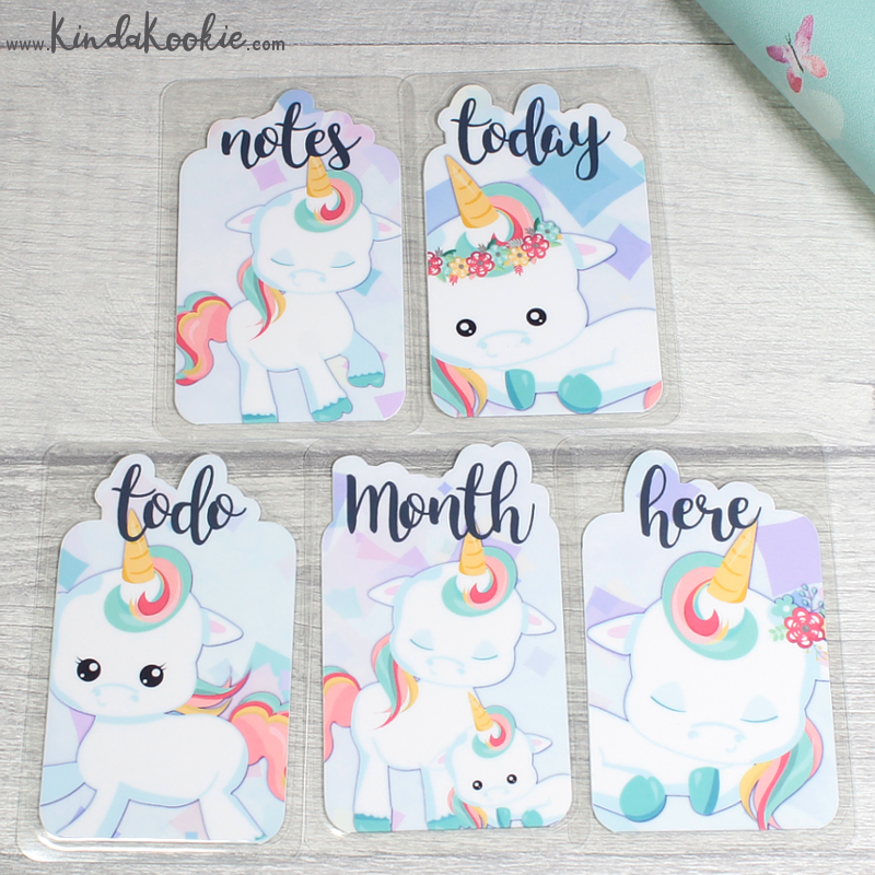 Unicorn Bookmarks for Planners, Journals and Diaries. Keepsake Gifts and Dashboard Decorations by KindaKookie