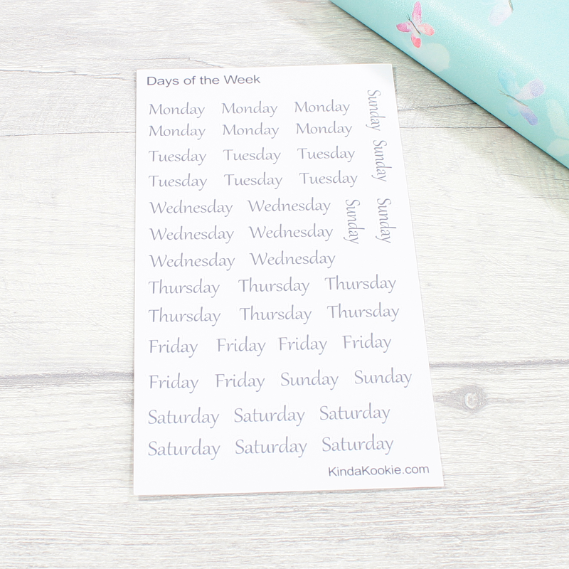 Weekday Planner Stickers and Office Stationery Diary Stickers by KindaKookie