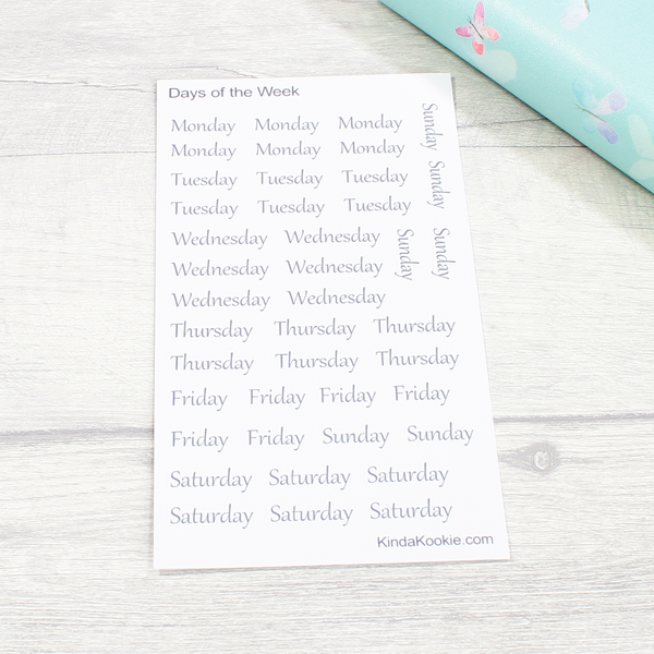 Weekdays Days of the Week Functional Stickers for Office Notes or Planners by KindaKookie