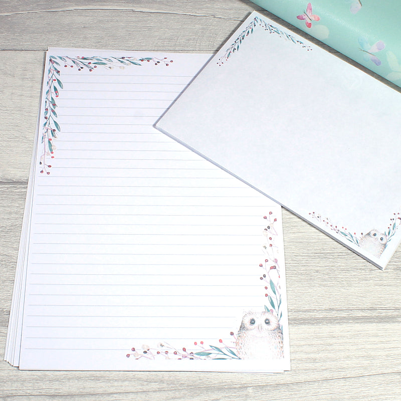 Winter Owl Office Stationery A5 Lined Double sided Penpal Writing Paper by KindaKookie