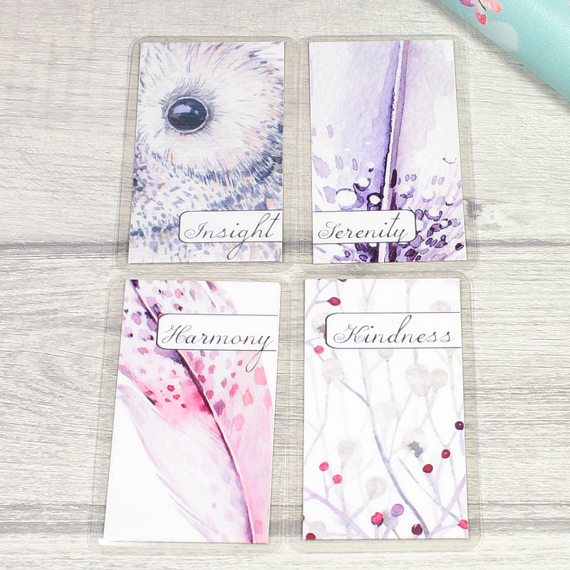 Winter Owls Set2 Inspirational Planner decorations Bookmarks and Carry Cards by KindaKookie
