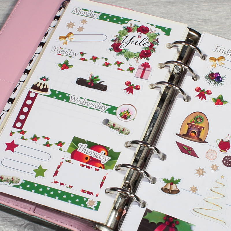 Yule Stickers Pagan Planner Layout Christmas Stickers by KindaKookie