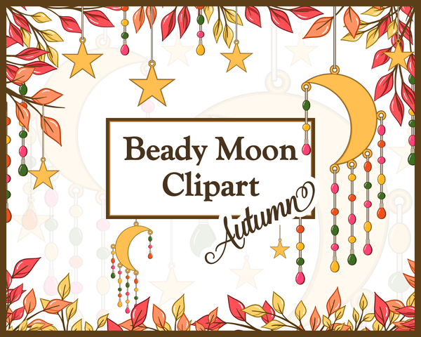 Beady Moon Autumn Fall Royalty Free Commercial Clipart by Lila Lilyat
