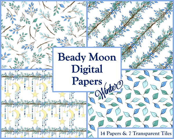 Winter Patterned Papers Printable Digital Download Commercial Use
