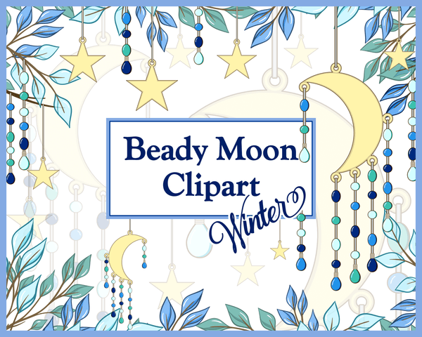 Winter Beady Moon Commercial Clipart Set by Lila Lilyat