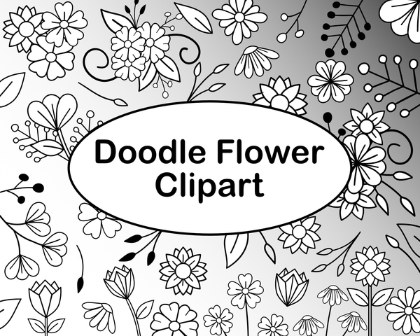 Doodle Flowers Light Commercial Use Clipart Set By Lila Lilyat