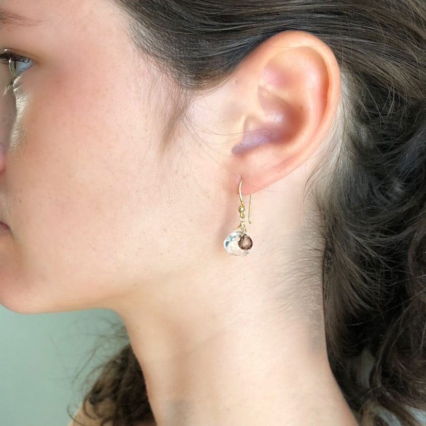 White and Smokey Topaz Earring