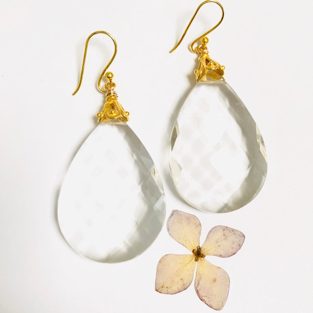 Large White Crystal Drop Earrings