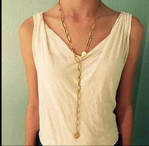 "34"" Gold Rectangular Chain Necklace"