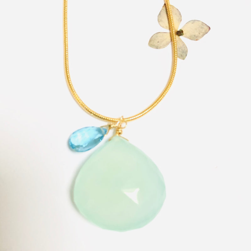 Large Aqua Chalcedoney and Blue Topaz Necklace