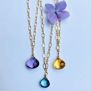 Delicate Everyday Single Gemstone Necklace