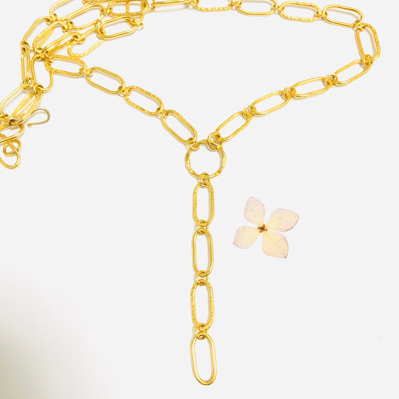 Bold Gold Rectangular Link Lariat