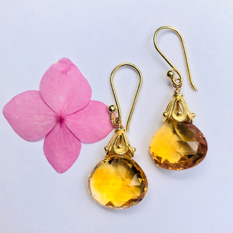Citrine Gold Capped Drop Earring