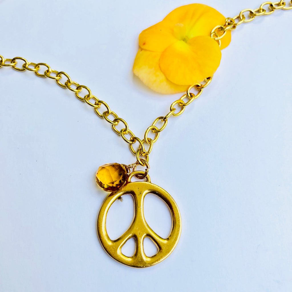 Large Peace Sign Gold Necklace with Citrine