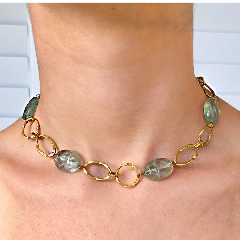 Green Fluorite Gold Link Necklace